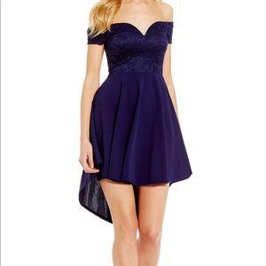 B. Darlin Off-The-Shoulder High-Low Dress